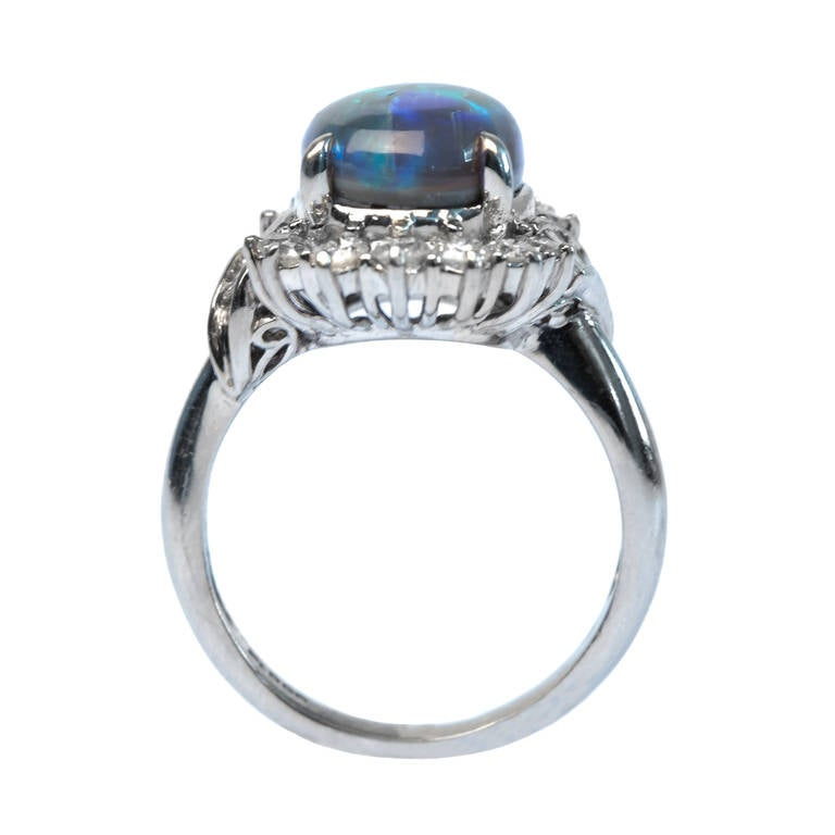 contemporary black opal platinum ring at 1stdibs