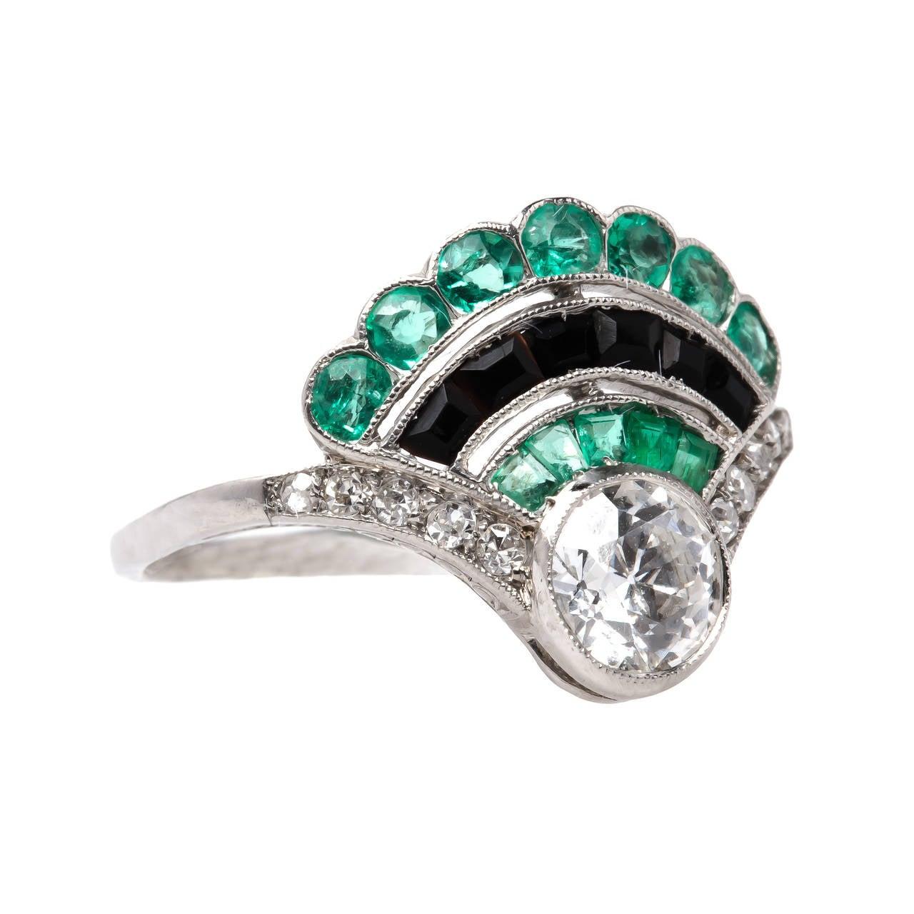 unique deco colored platinum ring at 1stdibs