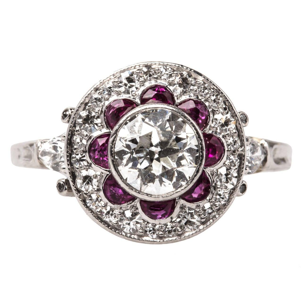 Edwardian Ruby Diamond Platinum Engagement Ring At 1stdibs Tsavorite  Garnet Engagement Ring