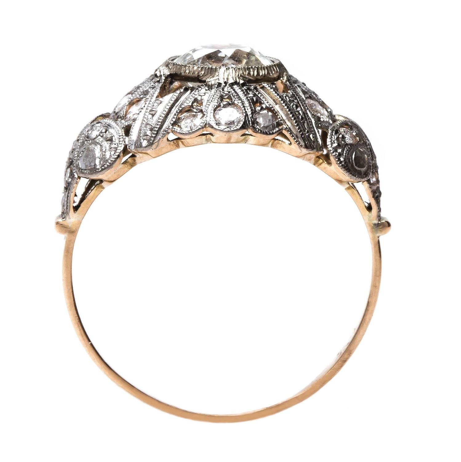 Art Nouveau diamond gold platinum Engagement Ring For Sale at 1stdibs