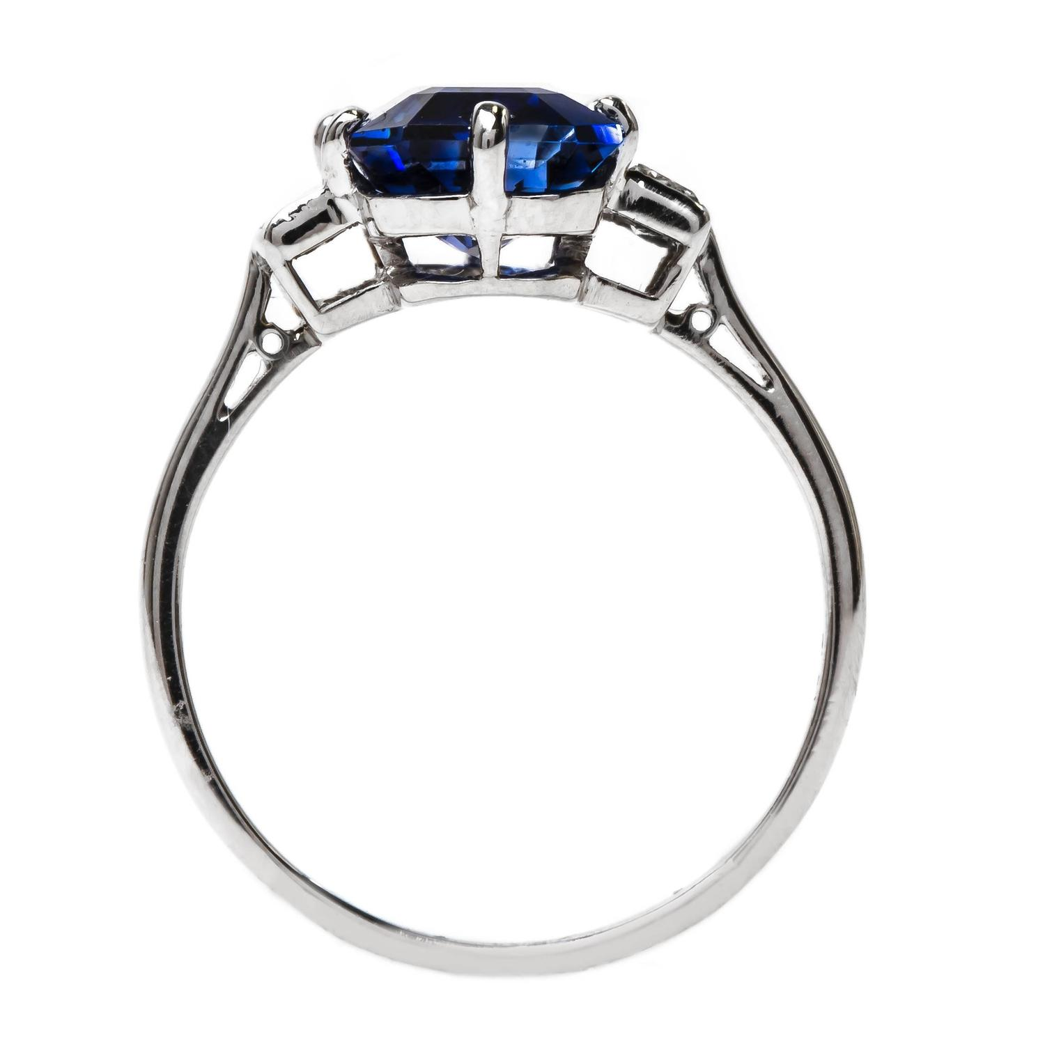 Remarkable Art Deco 4 25 Carat Rectangular Sapphire Diamond Engagement Ring a