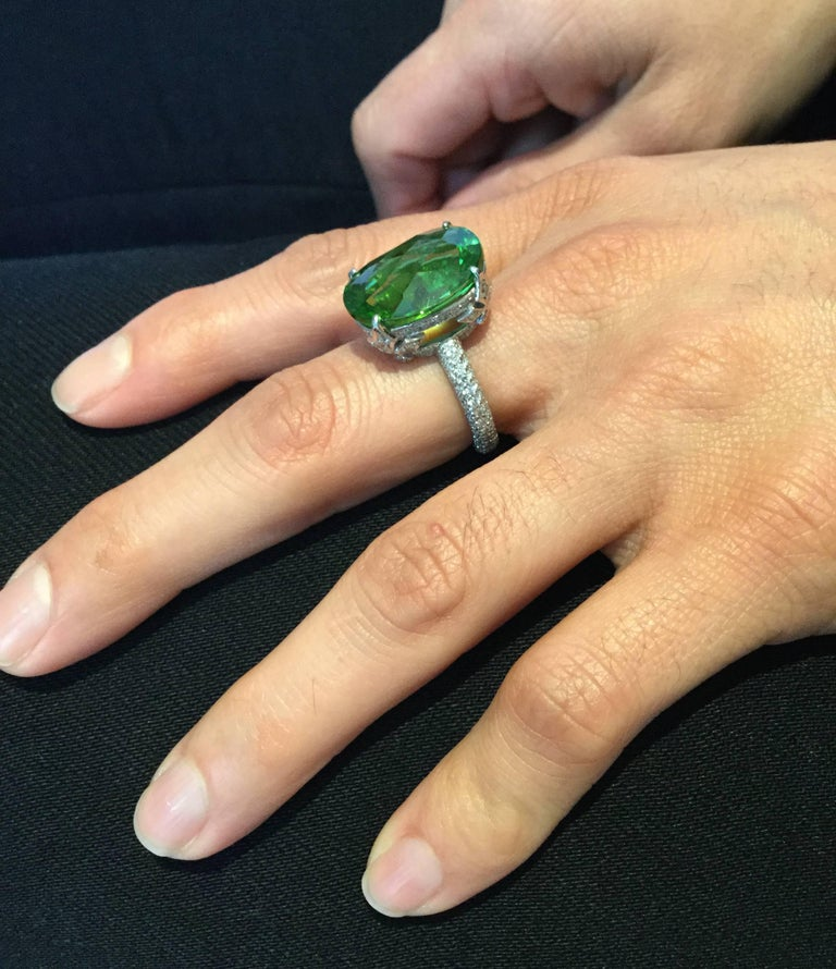 Burmese Peridot Diamond Platinum Ring In As New Condition For Sale In Carmel, CA