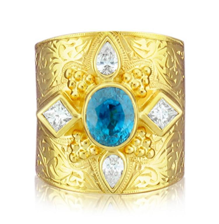 Paula Crevoshay Blue Zircon Diamond Gold  Band Ring In As New Condition For Sale In Carmel, CA