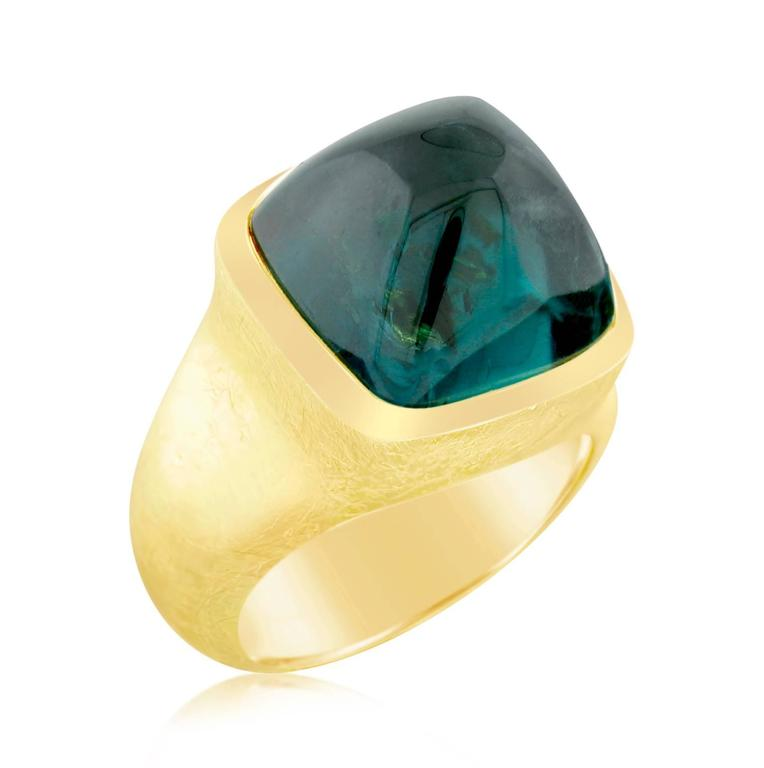 16.87 Carat Green Tourmaline Gold Ring In As new Condition For Sale In Carmel, CA