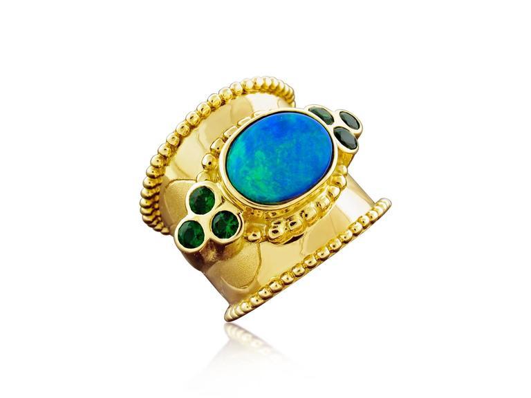 Paula Crevoshay Black Opal Chrome Tourmaline Gold Ring 2