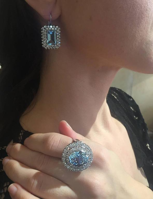 Aquamarine and Diamond Earrings For Sale 1