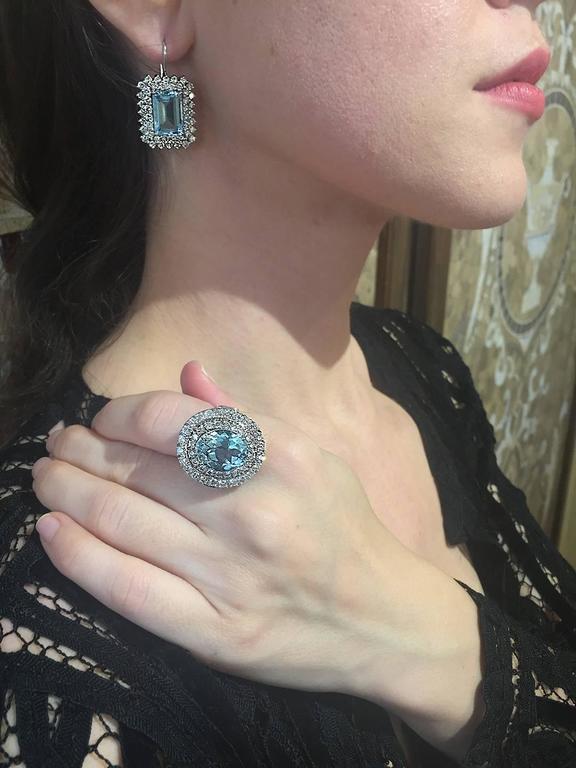 Aquamarine and Diamond Ring in White Gold 7