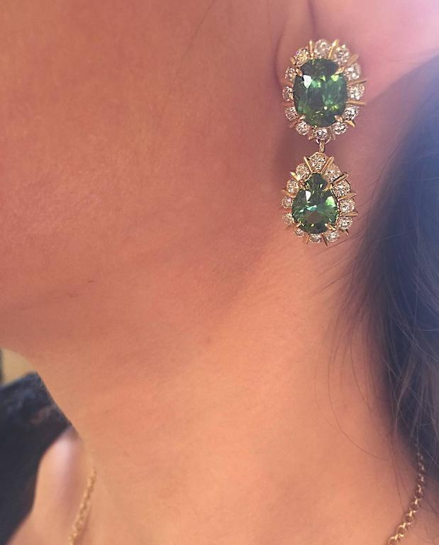 Green Tourmaline and Diamond Earrings 4