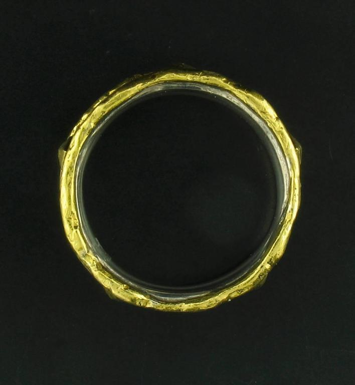Gold and Silver Band with Nails in Brown Patina 2