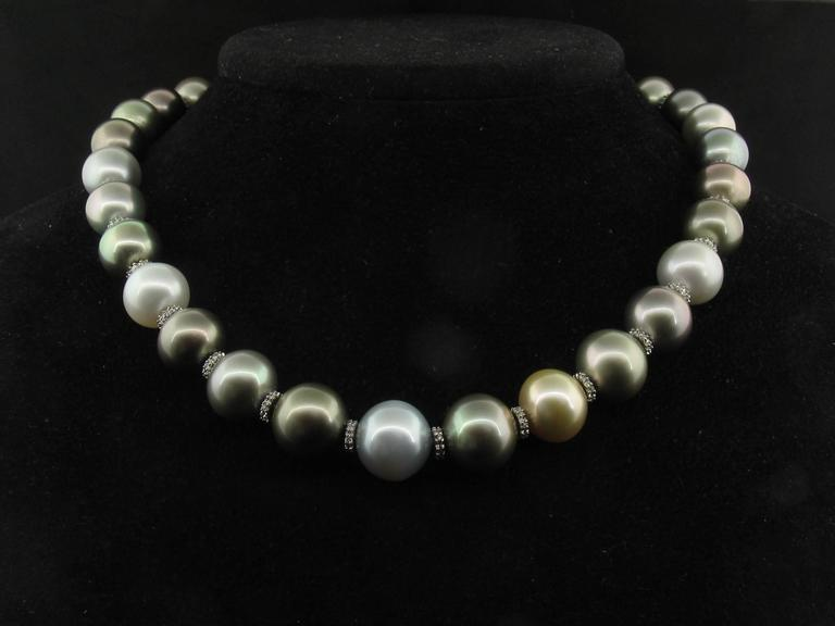 This lovely necklace combines 31 Tahitian South Sea pearls with Diamond rondelles of 18k white gold. The white gold clasp is also accented in Diamonds.  They graduate in size from 12.2mm to 14.9mm and the necklace measures 18 inches long.  Regular