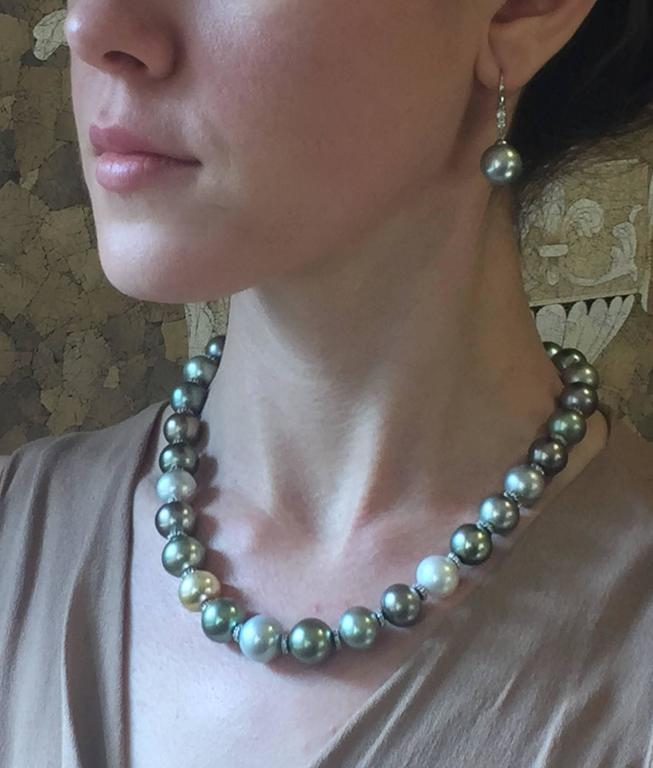 Multicolor Tahitian, South Sea Pearl & Diamond Necklace For Sale 1