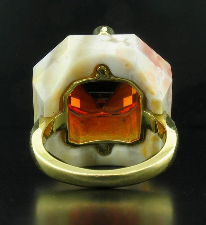 Nicholas Varney 15.55 Carat Spessartite Duo Diamond Gold  Ring 4