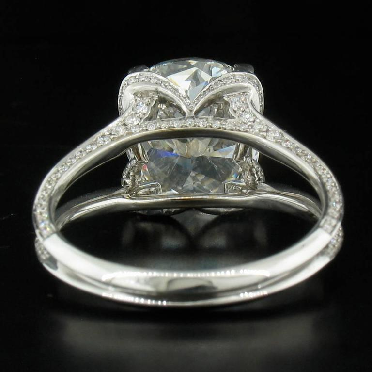 5.01ct Cushion Diamond Ring In New Condition For Sale In Carmel, CA