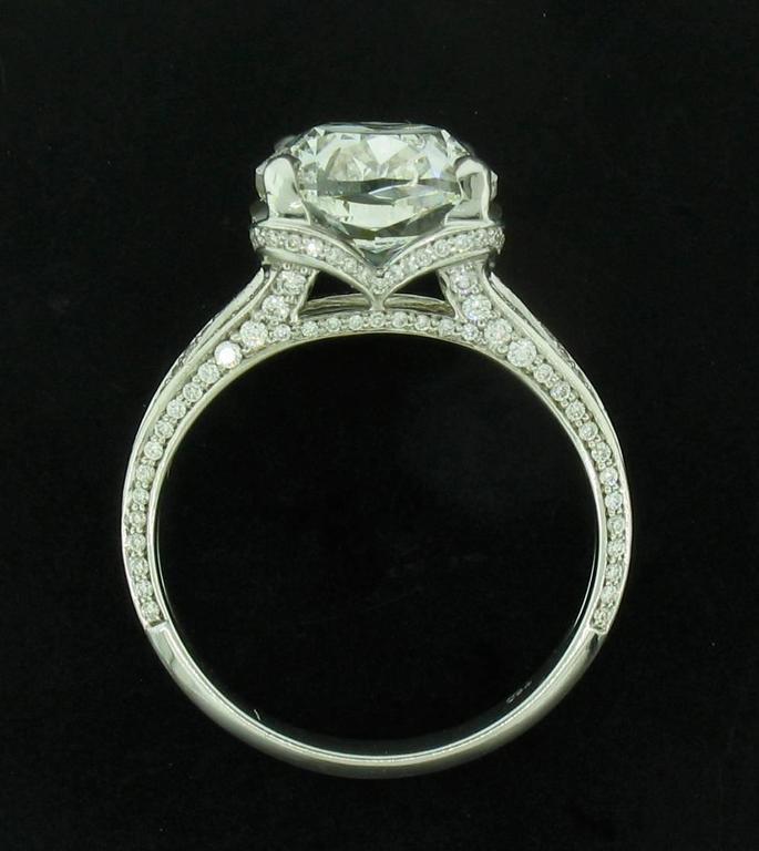 Women's or Men's 5.01ct Cushion Diamond Ring For Sale