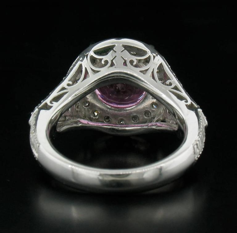 Pink Sapphire and Diamond Ring in Platinum In As New Condition For Sale In Carmel, CA