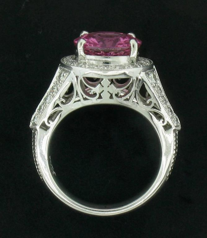 Women's Pink Sapphire and Diamond Ring in Platinum For Sale