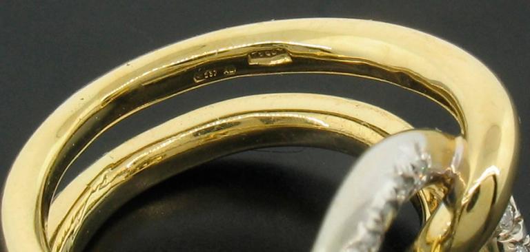 Women's Italian Diamond and 18 Karat Gold Ring For Sale