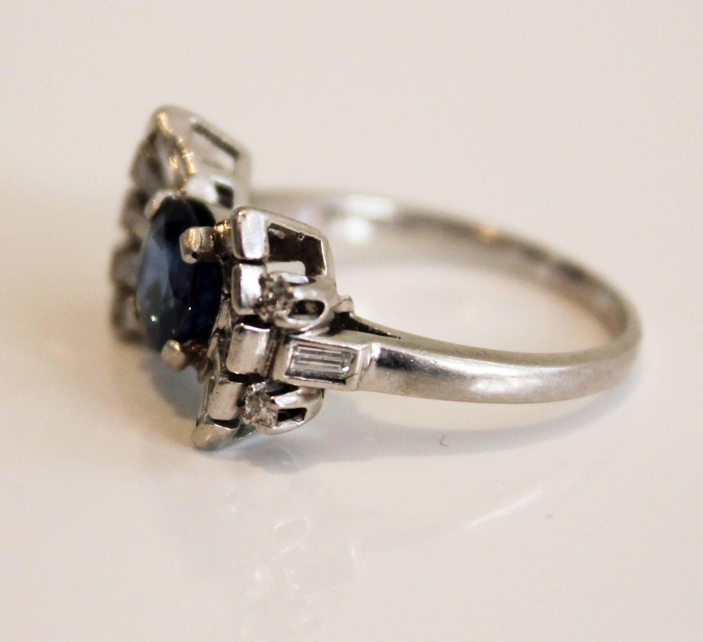 deco sapphire platinum bow ring at 1stdibs