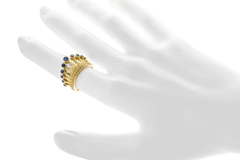 Cynthia Bach Sapphire Diamond Gold Crown Ring 2
