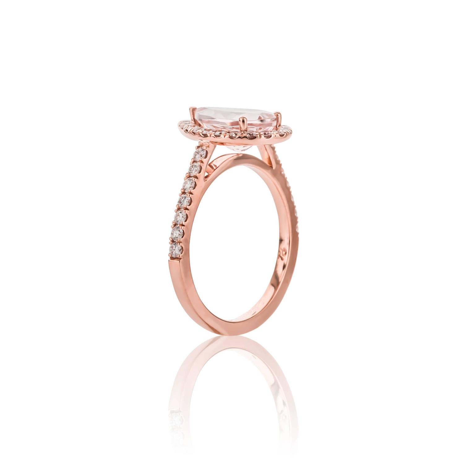 e of a Kind 1 95 Carat Morganite Diamond Gold Ring For Sale at 1stdibs
