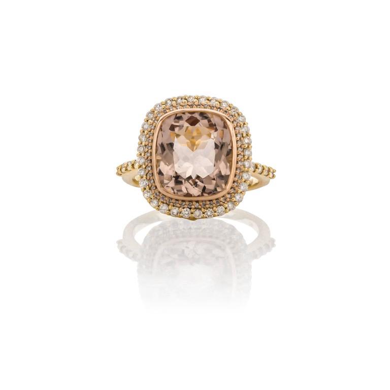 Sloane Street 4 53 Carat Morganite Diamond Ring For Sale at 1stdibs