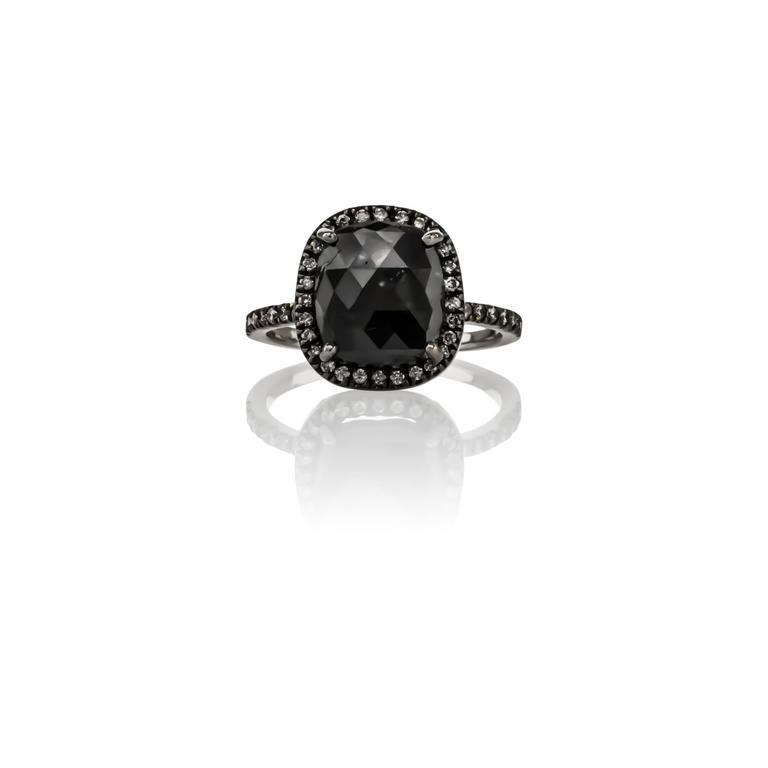 Sethi Couture 4.46 Carat  Black Diamond Ring 2