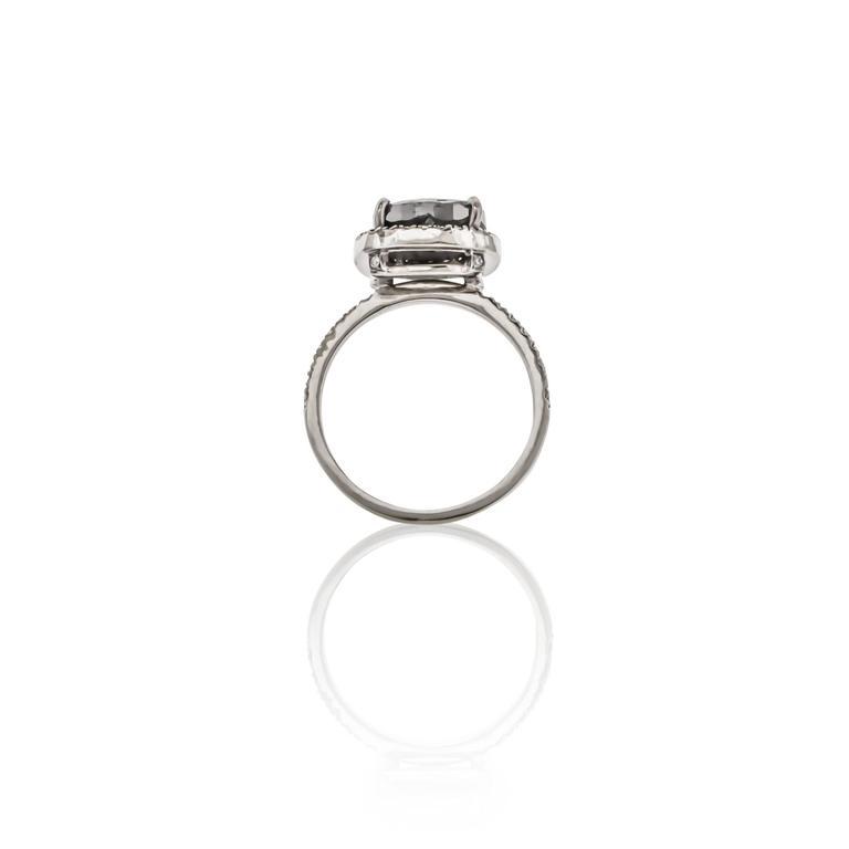 Sethi Couture 4.46 Carat  Black Diamond Ring 4