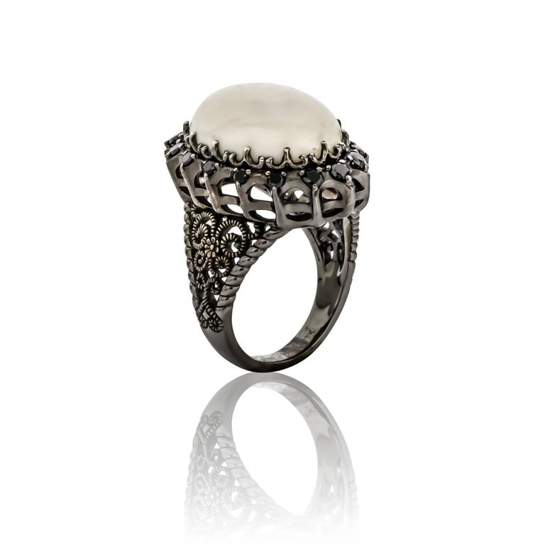 Cynthia Bach White Coral and Black Diamond Ring For Sale at 1stdibs