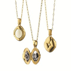 Monica Rich Kosann 18 Karat Yellow Gold and Moonstone Petite Locket Necklace