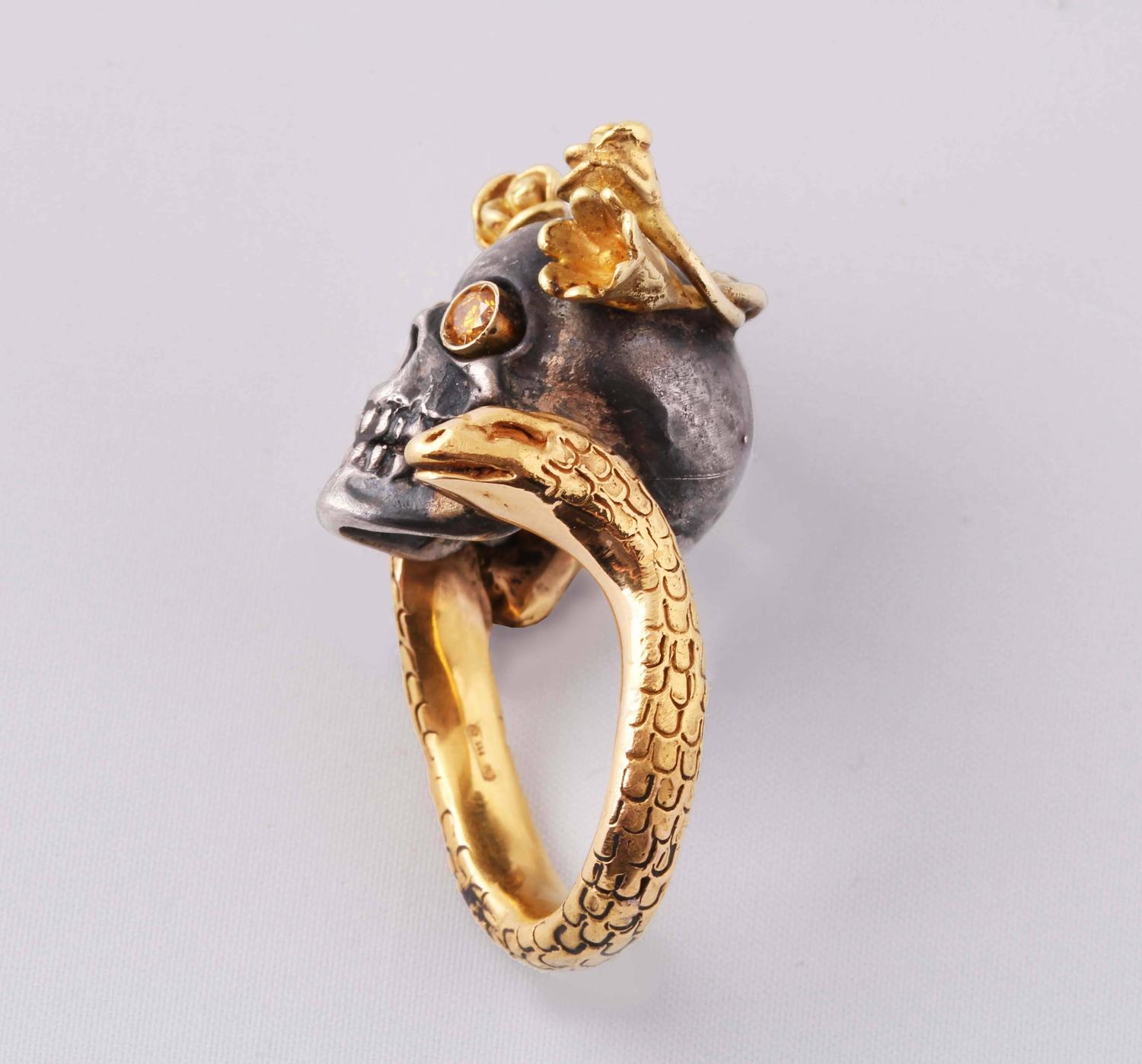 sapphire silver gold skull ring at 1stdibs