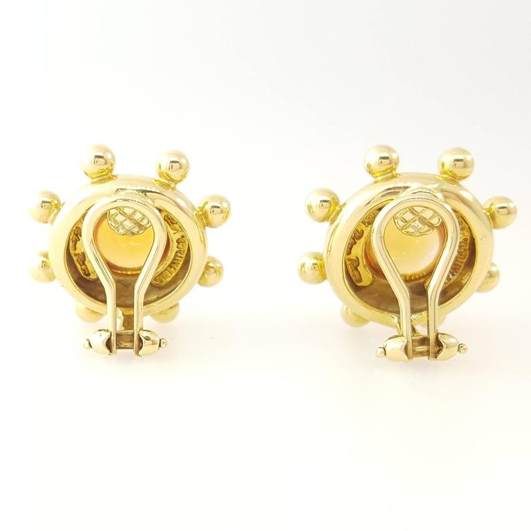 Tiffany & Co. Paloma Picasso Citrine Cabochon Gold Earrings In Excellent Condition For Sale In Lake Forest, IL