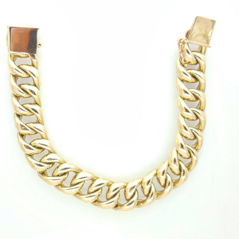 Heavy Solid Gold Curb Link Bracelet At 1stdibs