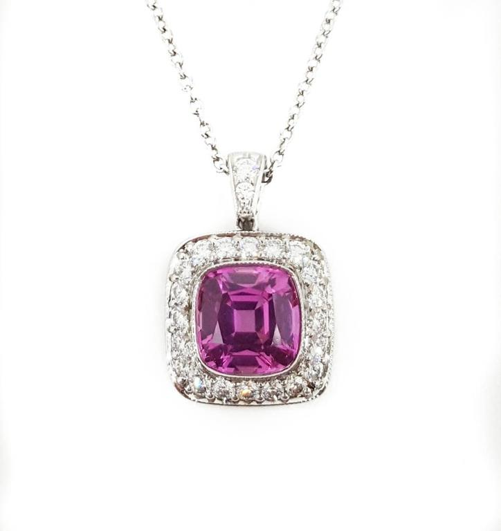 tiffany and co pink sapphire diamond platinum pendant at