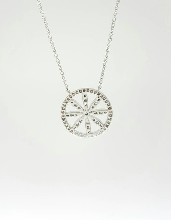 1fbf3f2c3 Tiffany & Co. Diamond Platinum Circle Flower Pendant Necklace In Excellent  Condition For Sale In