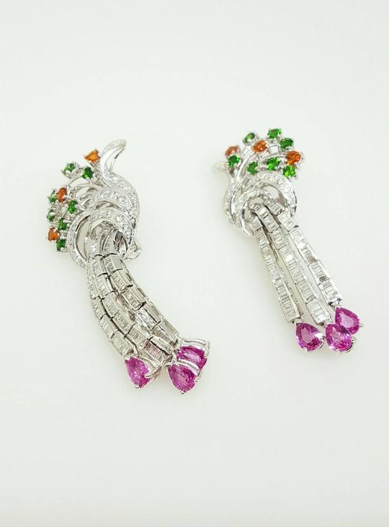 Women's Emerald Garnet Sapphire Diamond Gold Drop Earrings For Sale