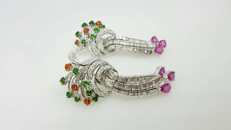 Emerald Garnet Sapphire Diamond Gold Drop Earrings For Sale 1