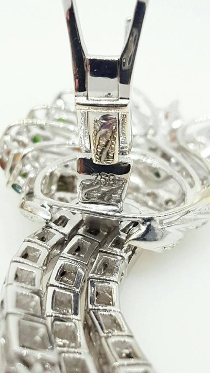 Emerald Garnet Sapphire Diamond Gold Drop Earrings For Sale 2