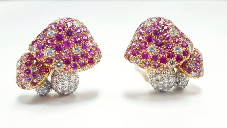 Round Cut Tiffany & Co. Mushroom Diamond pink sapphire Earrings For Sale