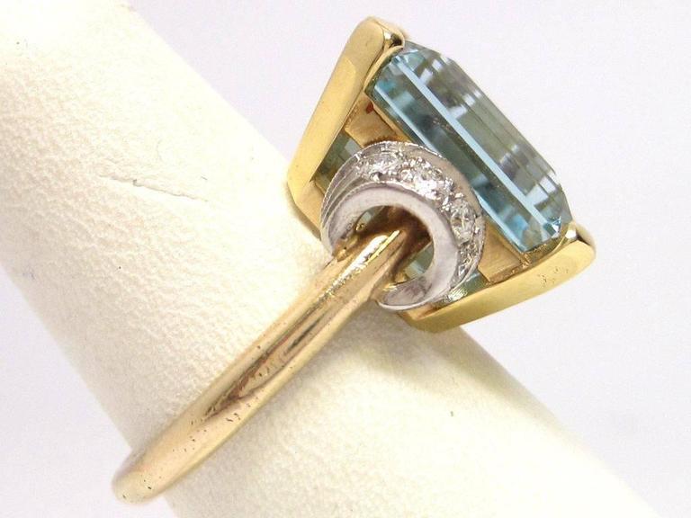 Women's 1950s Aquamarine Gold Platinum Ring For Sale