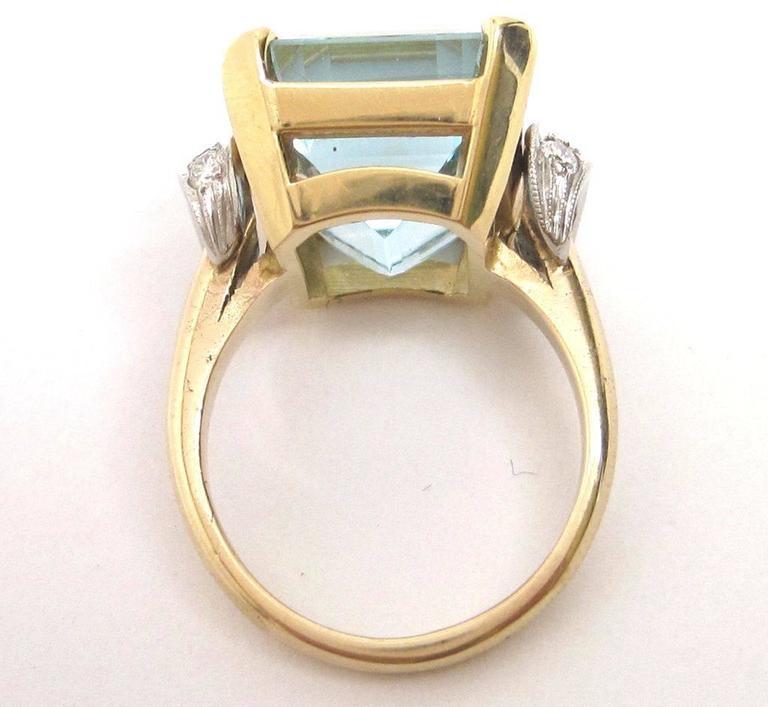 1950s Aquamarine Gold Platinum Ring For Sale 1