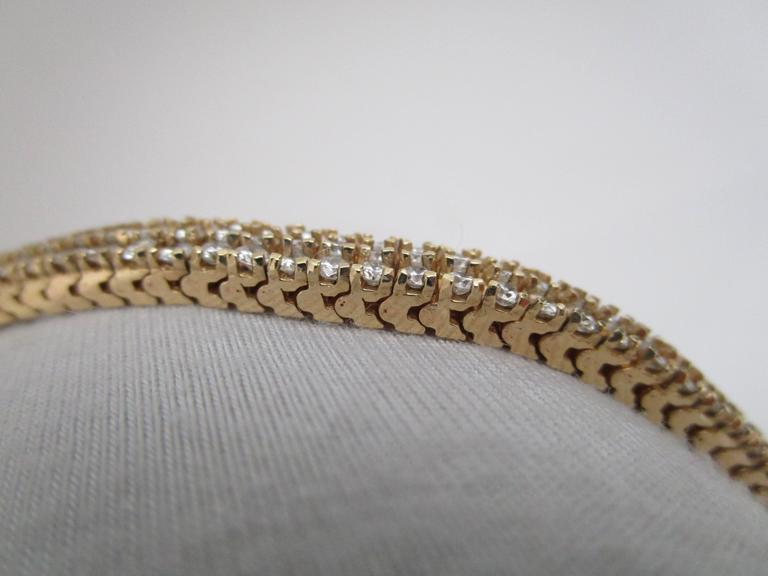 1980s Diamond Gold Bracelet For Sale 1