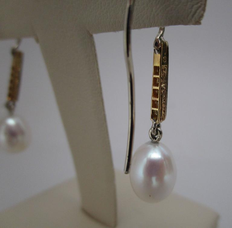 Women's Edwardian Platinum 18 Karat Gold Earrings with Rose Cut Diamonds and Pearls For Sale