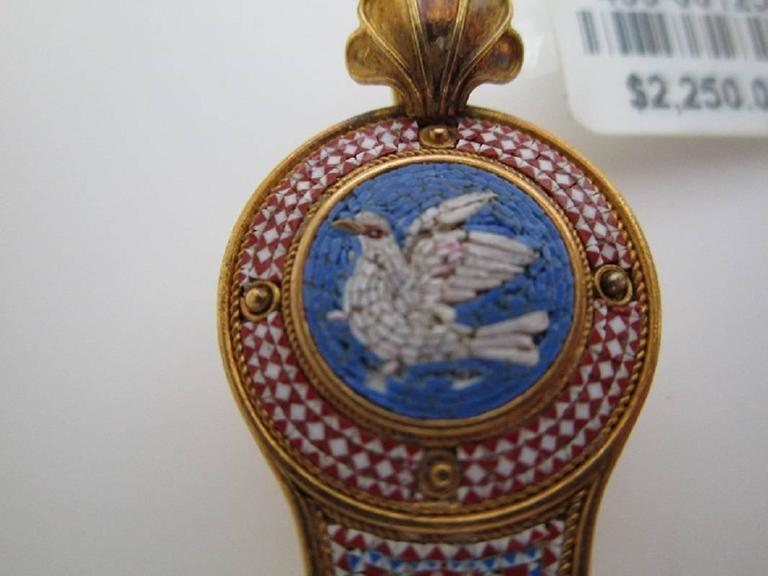 Micro Mosaic Pendant 18K Yellow Gold c 1860 Victorian