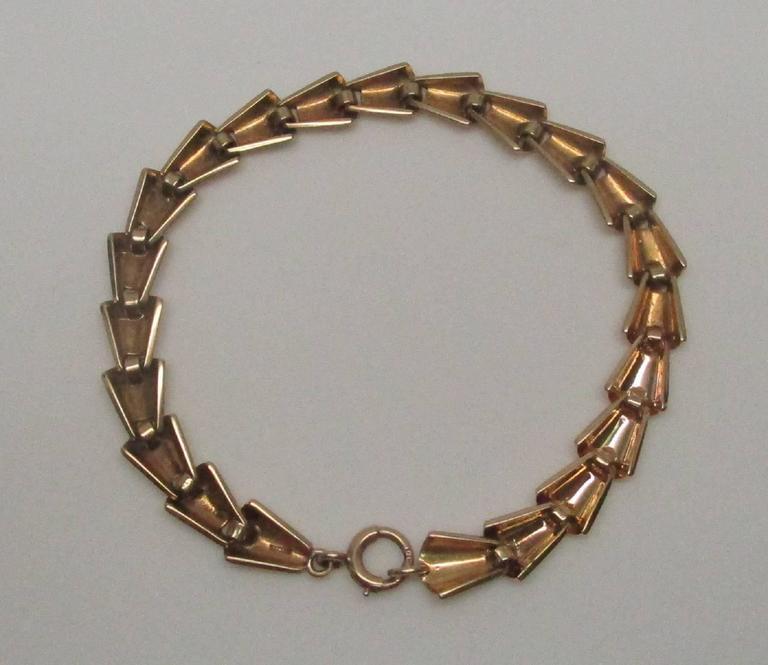 Tiffany & Co  Art Deco 14 Karat Gold Link Bracelet