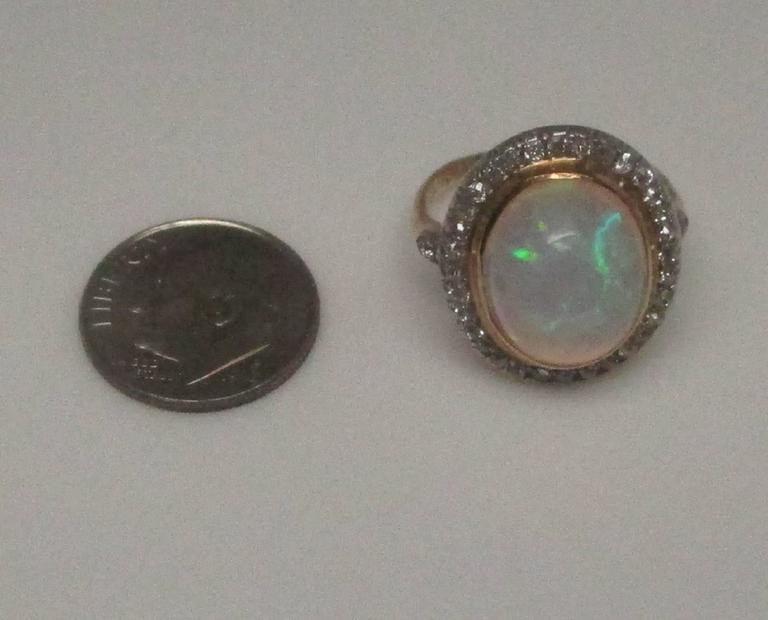 Edwardian Opal Diamond Platinum over Gold Ring For Sale 1