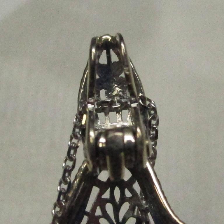 Art Deco Diamond Gold Filigree Pendant For Sale 4