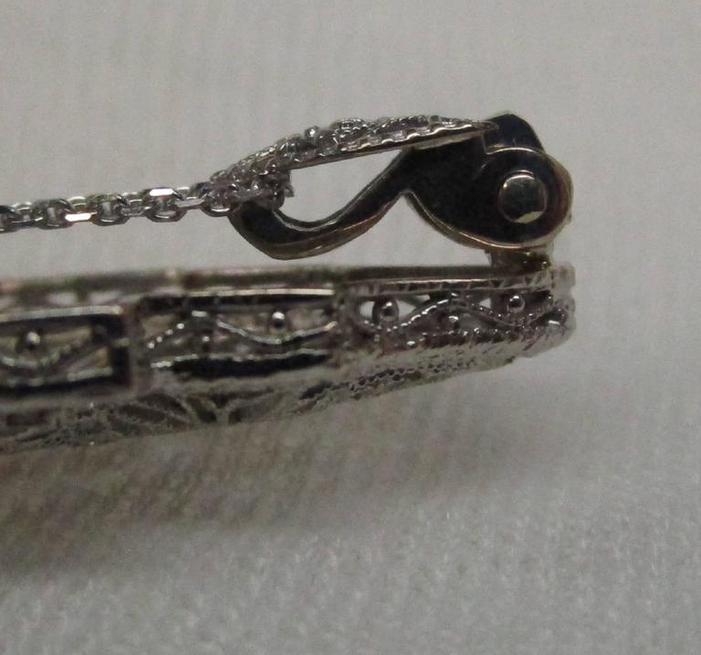 Art Deco Diamond Gold Filigree Pendant For Sale 2