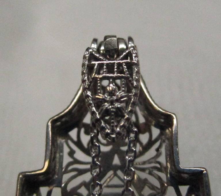 Art Deco Diamond Gold Filigree Pendant For Sale 3