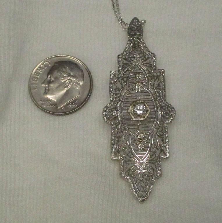 Art Deco Diamond Gold Filigree Pendant For Sale 5