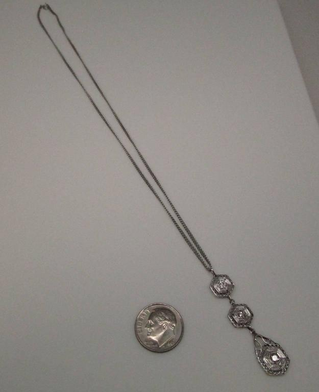 Art Deco Diamond Gold Necklace 10
